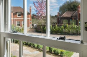 A close up image from the interior view of a heritage sash window